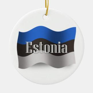 エストニアの振る旗 陶器製丸型オーナメント