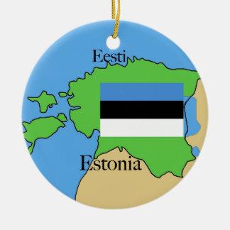 エストニアの旗そして地図 陶器製丸型オーナメント