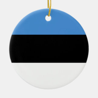 エストニアの旗のオーナメント 陶器製丸型オーナメント
