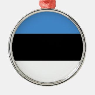 エストニアの旗 シルバーカラー丸型オーナメント