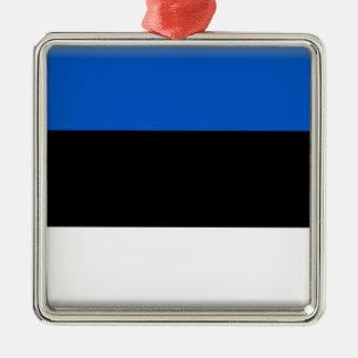 エストニアの旗 シルバーカラー正方形オーナメント