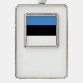 エストニアの旗 シルバープレートフレームオーナメント