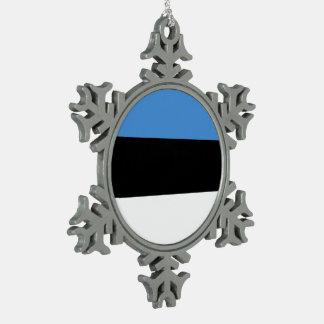 エストニアの旗 スノーフレークピューターオーナメント