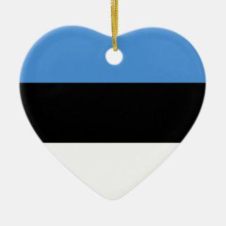 エストニアの旗 陶器製ハート型オーナメント