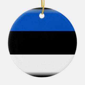 エストニアの旗 陶器製丸型オーナメント