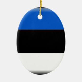 エストニアの旗 陶器製卵型オーナメント