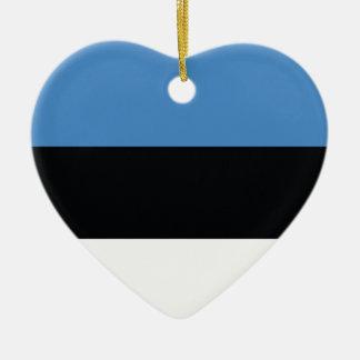 エストニアの明白な旗 陶器製ハート型オーナメント