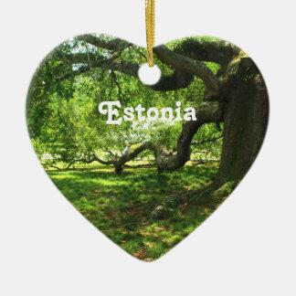 エストニアの景色 陶器製ハート型オーナメント