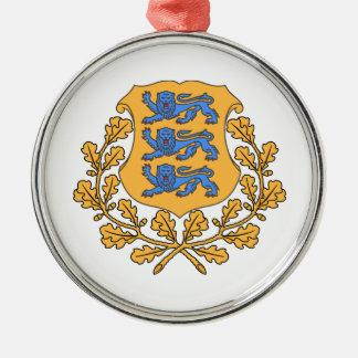 エストニアの紋章付き外衣 シルバーカラー丸型オーナメント