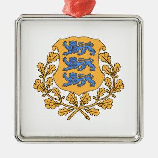 エストニアの紋章付き外衣 シルバーカラー正方形オーナメント