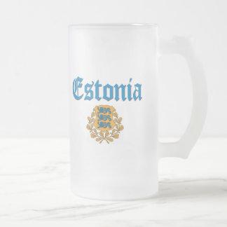 エストニアの紋章付き外衣 フロストグラスビールジョッキ