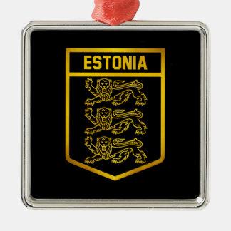 エストニアの紋章 シルバーカラー正方形オーナメント