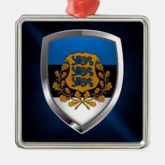 エストニアの金属紋章 シルバーカラー正方形オーナメント