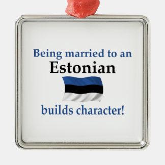 エストニアはキャラクターを造ります シルバーカラー正方形オーナメント