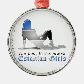 エストニア語の女の子のシルエットの旗 シルバーカラー丸型オーナメント