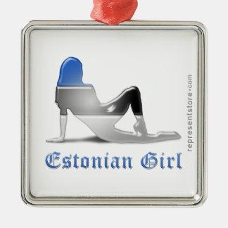 エストニア語の女の子のシルエットの旗 メタルオーナメント