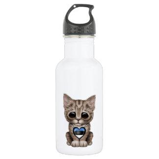 エストニア語の旗のハートのかわいい子ネコ猫 ウォーターボトル