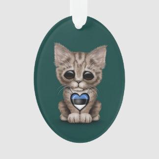 エストニア語の旗のハートのかわいい子ネコ猫、ティール(緑がかった色) オーナメント