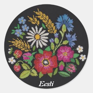 エストニア語の野生の花のステッカー ラウンドシール