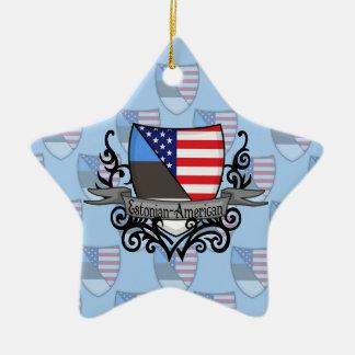 エストニア語アメリカの盾の旗 セラミックオーナメント