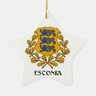エストニア-記号か紋章付き外衣か旗または色または紋章 セラミックオーナメント