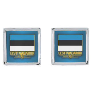 エストニア(Eesti Lipp)の旗 シルバー カフスボタン