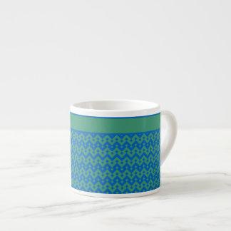 エスプレッソのコーヒー・マグ、エメラルドおよび青い幾何学的 エスプレッソカップ