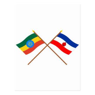 エチオピアおよび南交差させた旗 ポストカード