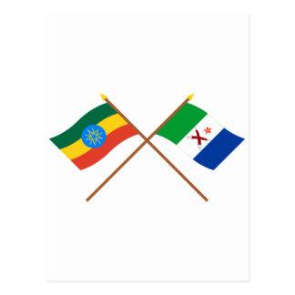 エチオピアおよび遠く交差させた旗 ポストカード