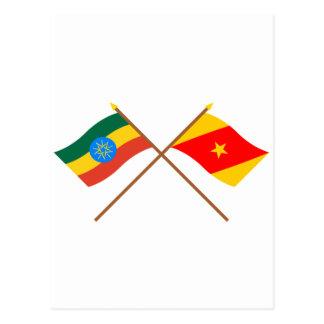 エチオピアおよびAmharaによって交差させる旗 ポストカード