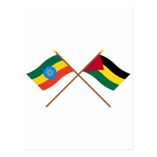 エチオピアおよびBenishangul-Gumazによって交差させる旗 ポストカード