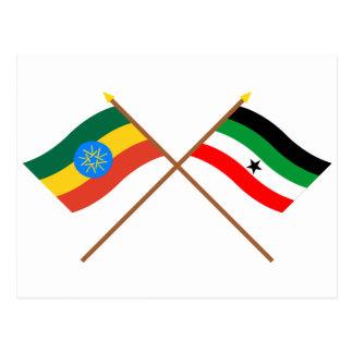エチオピアおよびGambellaによって交差させる旗 ポストカード