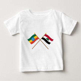 エチオピアおよびOromiaによって交差させる旗 ベビーTシャツ