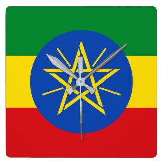 エチオピアの国民の世界の旗 スクエア壁時計