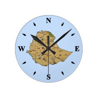エチオピアの地図の時計 ラウンド壁時計