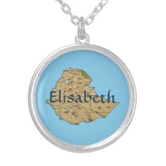 エチオピアの地図 + 一流のネックレス シルバープレートネックレス