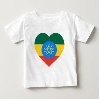 エチオピアの旗のハート ベビーTシャツ