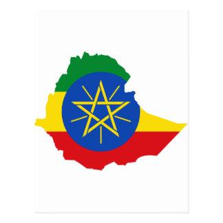 エチオピアの旗の地図と ポストカード