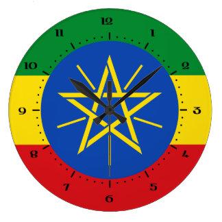 エチオピアの旗の時計 ラージ壁時計