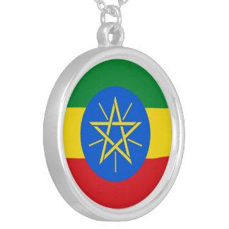 エチオピアの旗 シルバープレートネックレス