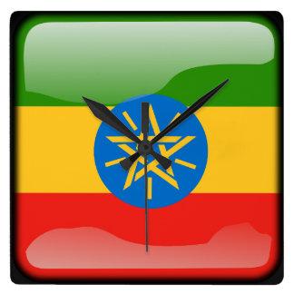 エチオピアの旗 スクエア壁時計