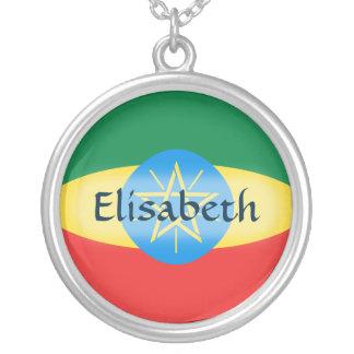 エチオピアの旗 + 一流のネックレス シルバープレートネックレス