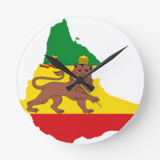 エチオピアの旗prライン👍😂😂👌 ラウンド壁時計