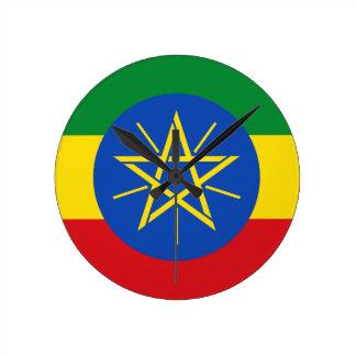 エチオピアの柱時計の旗 ラウンド壁時計