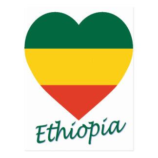 エチオピアの(市民)旗のハート ポストカード