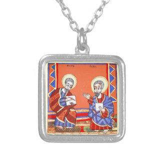 エチオピア聖書聖者ルーク聖者ジョン シルバープレートネックレス