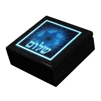 エッチングされたダビデの星の白熱[赤熱]光を放つで青いShalom ギフトボックス