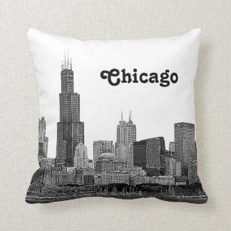 エッチングされるシカゴのスカイライン クッション