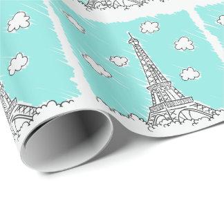 エッフェル塔のイラストレーションの包装紙 ラッピングペーパー