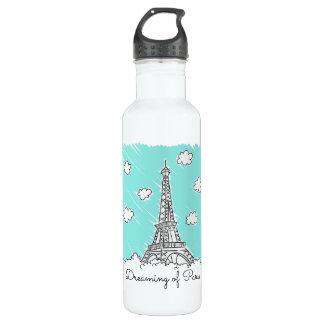 エッフェル塔のイラストレーションの名前をカスタムするの水差し ウォーターボトル